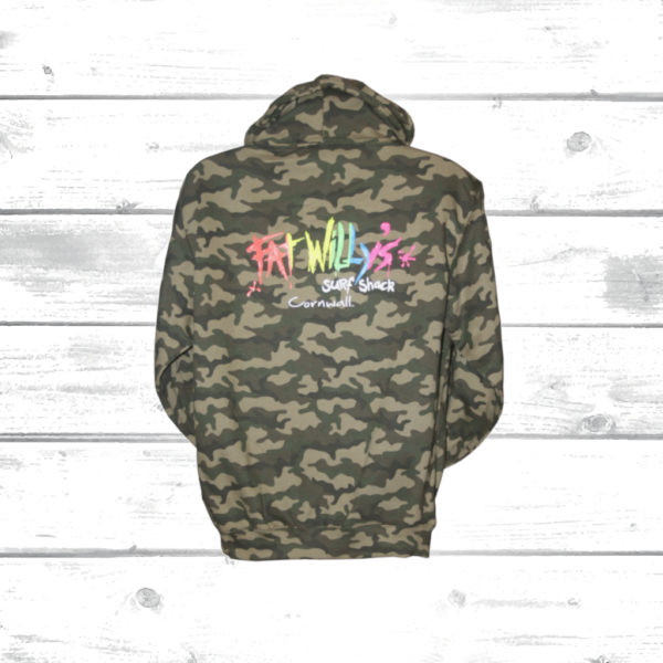Fat Willy's Camo Hoodie back