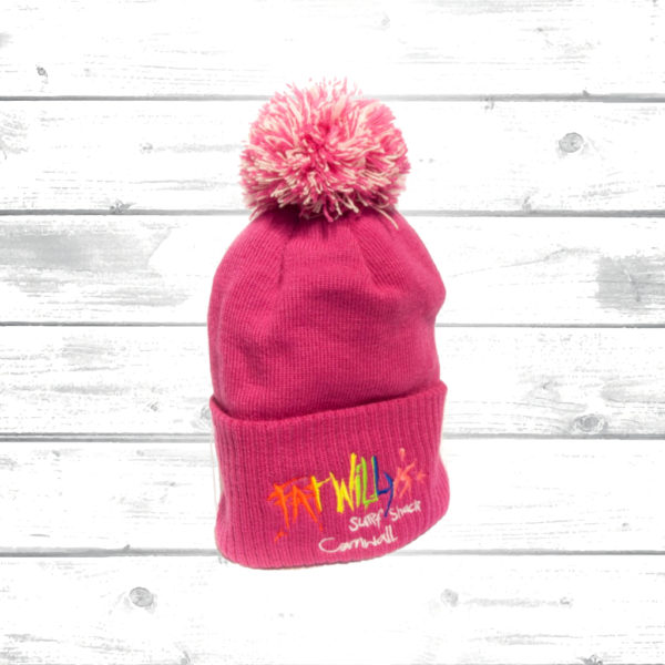 Kids Pink Bobble Hat